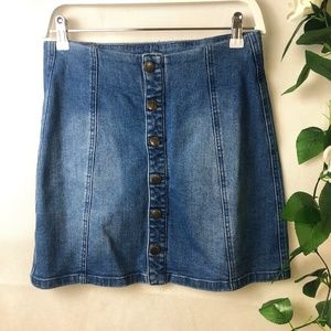 All About Eve Size 10 Denim Skirt with Buttoned fr